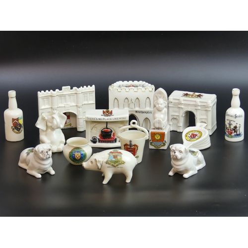 52 - 14 items of novelty crested china ware. Tallest 10cm. UK Postage £15.