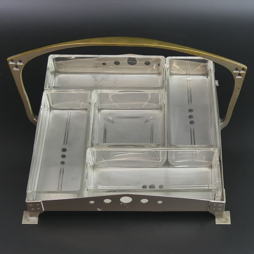 55 - W.M.F silver plate and glass secessionist hors d'oeuvres dish. 26cm wide x 17cm high. UK Postage £20