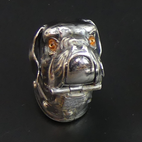 56 - 3 novelty silver plated vesta cases, viz. a Bulldog, a Pierrot and Gladstone along with a snuff box....
