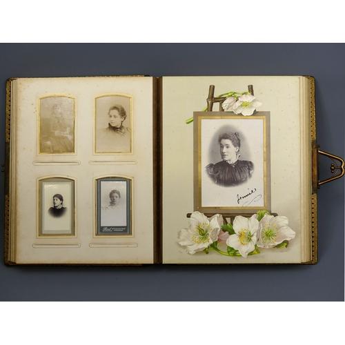 192 - Victorian leather bound photograph album and contents, mostly portrait photos. 30 x 23 cm. UK Postag...