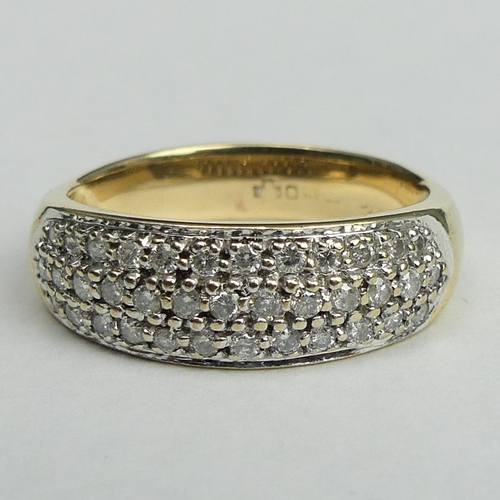 12 - 9 carat gold diamond pave set ring, 3.8 grams. Size R and 7.2 mm at it's widest. UK Postage £12.
