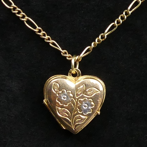 14 - 9 carat gold locket and Figaro link 38 cm chain. 6.3 grams. UK Postage £12.