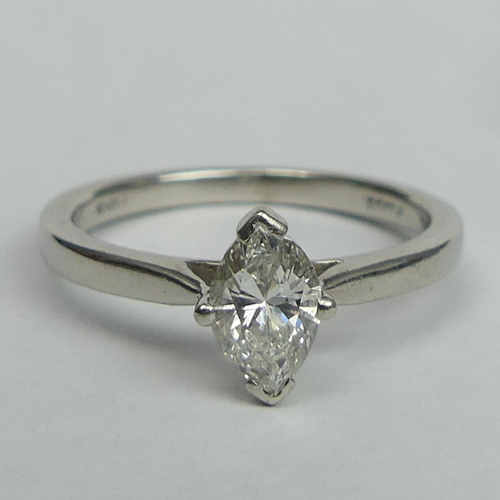 21 - Platinum and Marquise Diamond .51ct H colour VS1 solitaire ring, Birmingham assay. Size K, top 8mm, ...