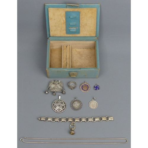26 - Vintage box of silver jewellery and fobs. 78 grams. UK Postage £15.