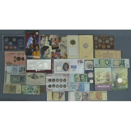 43 - Battle of Trafalgar commemorative crown, Chinese coins, 1997 Golden Wedding Crown and other collecta...