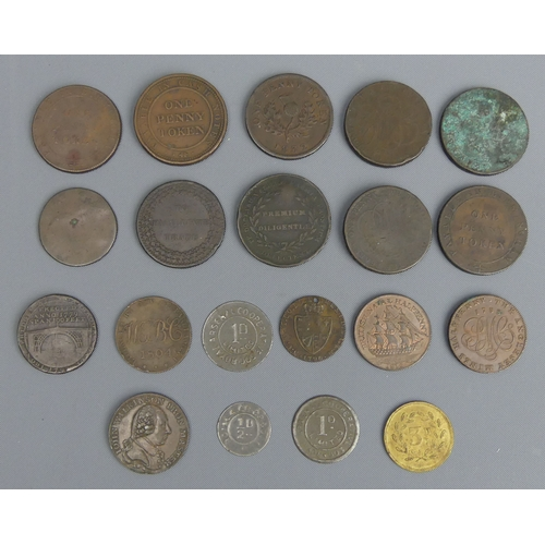 49 - An interesting collection of Georgian and later tokens, including Union Copper Company Birmingham 18...