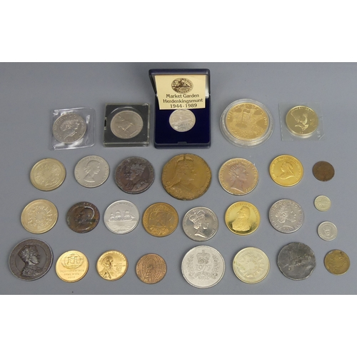 50 - Various commemorative medallions and coins, including Edward VII Coronation examples. UK Postage £15...