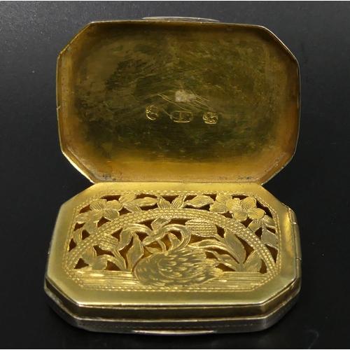 59 - George III silver vinaigrette, Samuel Pemberton, Birmingham 1790. 16 grams 40 mm wide. UK Postage £1...
