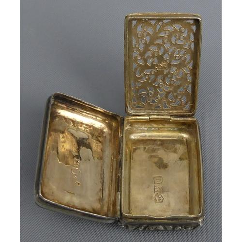 60 - George IV silver vinaigrette, Joseph Willmore, Birmingham 1826, 16.8grams. 35 mm wide. UK Postage £1...