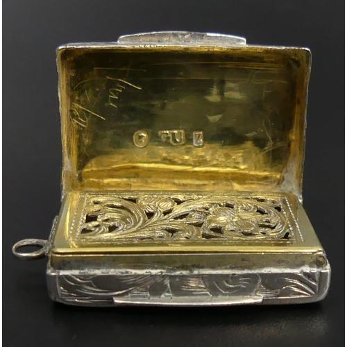 65 - Victorian silver vinaigrette, George Unite, Birmingham 1874. 30 mm wide. 9.6 Grams. UK Postage £12.