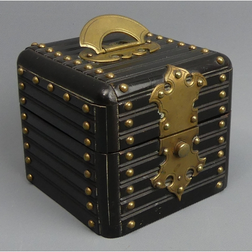 76 - Victorian travelling inkwell in the form of a Chinese hardwood box. 9cm high x 7.5 cm square. UK Pos...