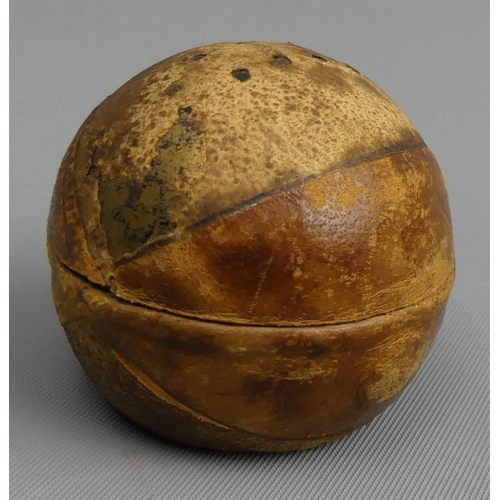 79 - Victorian novelty travelling inkwell in the form of a golf ball. 4 cm high.  UK Postage £12.