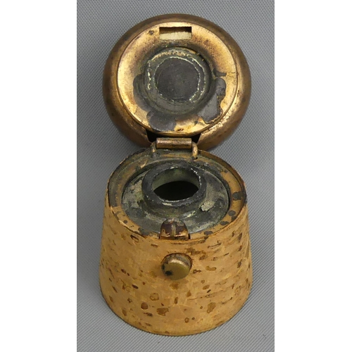81 - Victorian novelty travelling inkwell in the form of a champagne cork. 55 mm high. UK Postage £12.