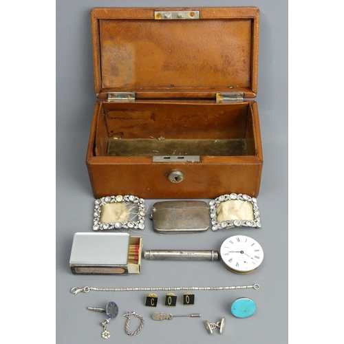 98 - An old leather jewellery box and contents, including shoe buckles, a gravity drop Samson & Mordan pe...