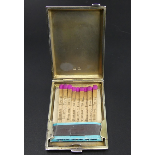 102 - Art Deco silver and enamel match box holder, Birmingham 1928. 54 grams. 60 mm x 44mm. UK Postage £12...