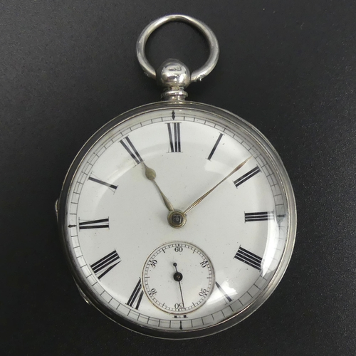 103 - Victorian silver open face fusee movement pocket watch, London 1895. 48 mm diameter x 68 mm long. UK...