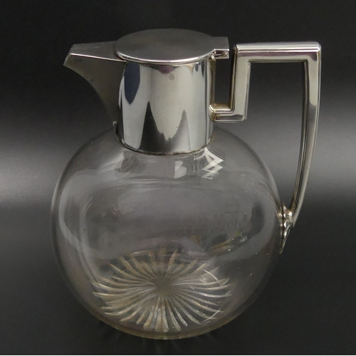 104 - Victorian silver and glass claret jug, London 1892. 15.5 cm high. UK Postage £15.