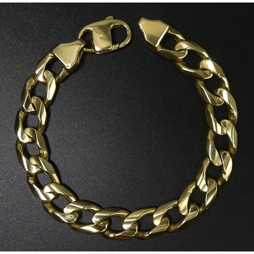 108 - Heavy yellow metal curb link gents bracelet. 58 grams. 215 mm x 11 mm. UK Postage £12.