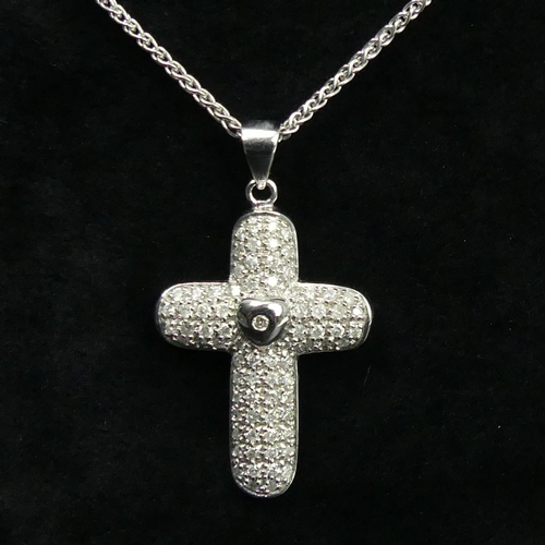 132 - 9ct white gold diamond set cross pendant and 45 cm chain. 9 grams. Cross 38 mm x 23 mm. UK Postage £...