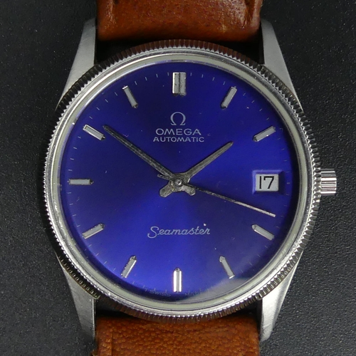 137 - Vintage Omega stainless steel blue face, date adjust, automatic watch. 35 mm wide (inc. button). UK ...
