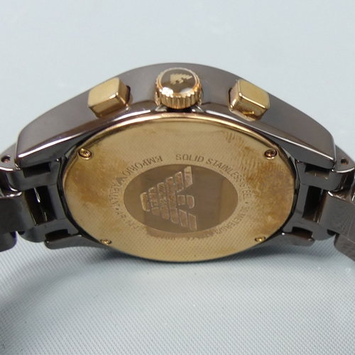 156 - Emporio Armani AR-1447 gents stainless steel chronograph watch in the original case. 42 mm wide inc....