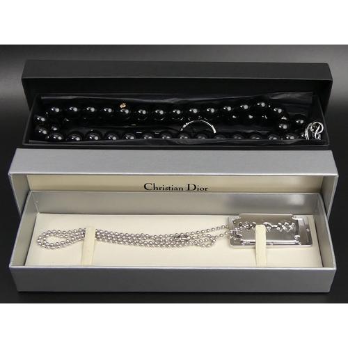 165 - Y-3 Yohji Yamamoto designer bead 87 cm necklace and a Christian Dior dog tag necklace, both boxed. U...