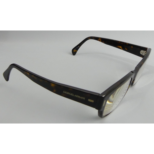 166 - A pair of Giorgio Armani Italian designer tortoiseshell effect glasses. UK Postage £12.