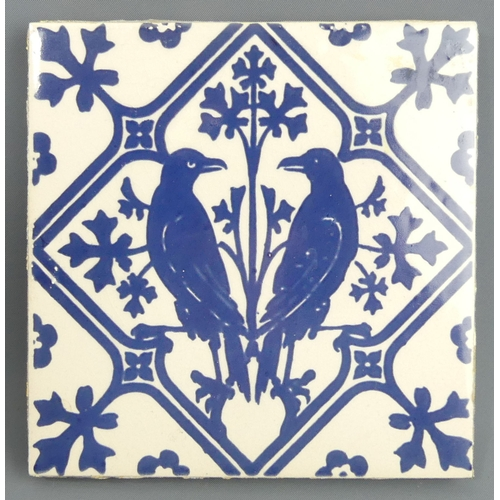 178 - A Victorian Mintons blue and white bird design pottery tile. 15.5 cm square. UK Postage £15.