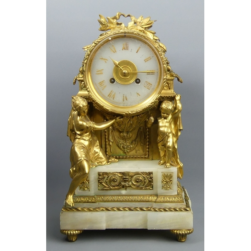 182 - 19th century French bronze ormalu and onyx figural mantle clock, bell striking movement, complete wi...