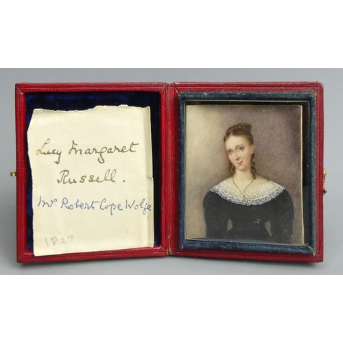 190 - A finely painted miniature of Lucy Margaret Russell, dated 1827 to the reverse and in a red leather ...