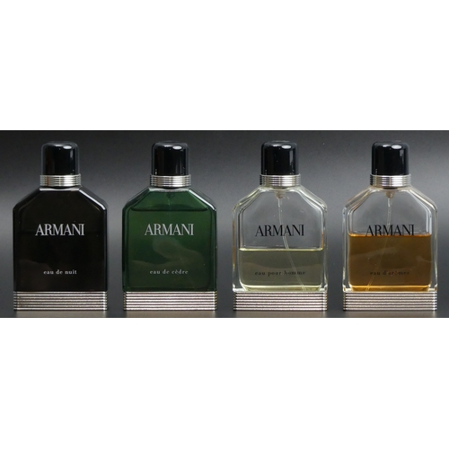 209 - Four Armani 100ml bottles of Eau de Toilette, all with different levels of use. UK Postage £18.