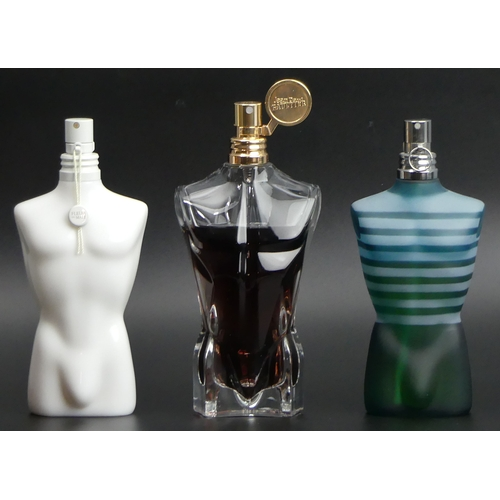 212 - Three bottles of 125ml bottles Jean Paul Gaultier Eau de Toilette, all with different levels of use....