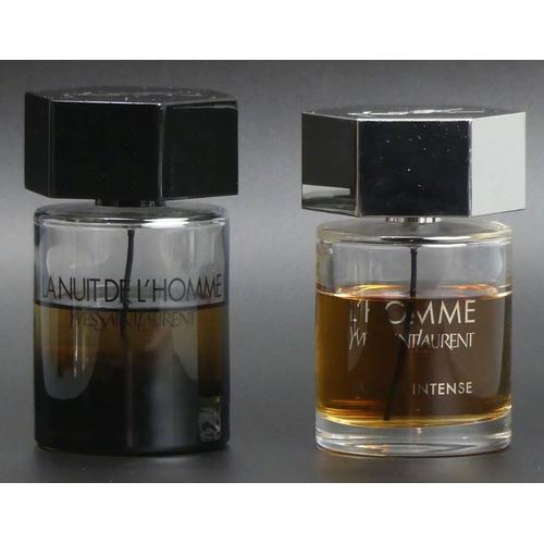 214 - Two 100ml bottles of Yves Saint Laurent, La Nuit de L'Homme and L'Homme parfum Intense. Both with go...
