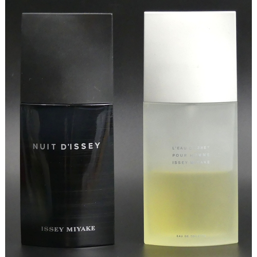 215 - Two 125ml bottles of Issey Miyake, Nuit D'Issey and L'eau D'Issey. Both with good levels. UK Postage...