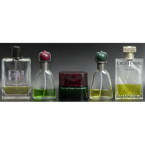 217 - Five bottles of mens eau de cologne, Must de Cartier, Antidote by Vicktor Rolf, Cristobal and Romeo ...