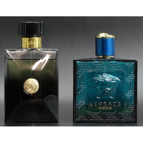 224 - Versace 100ml Oud Noir Eau de Parfum (high level) and Eros Eau de Toilette 100ml (low level). UK Pos...