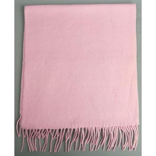 234 - Yves Saint Laurent cashmere scarf in dusky pink. 147 cm. UK Postage £12.