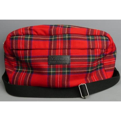 242 - Y's for men Yohji Yamamoto Tartan design shoulder bag. 29 cm x 16 cm. UK Postage £15.