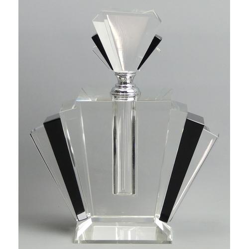 252 - Large black fan Art Deco design perfume bottle. 24 cm high. UK Postage £15.