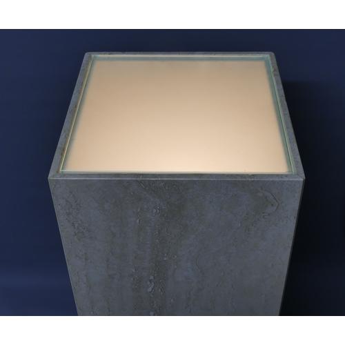 290 - A Travertine marble illuminated pedestal. 76 x 30 cm.
