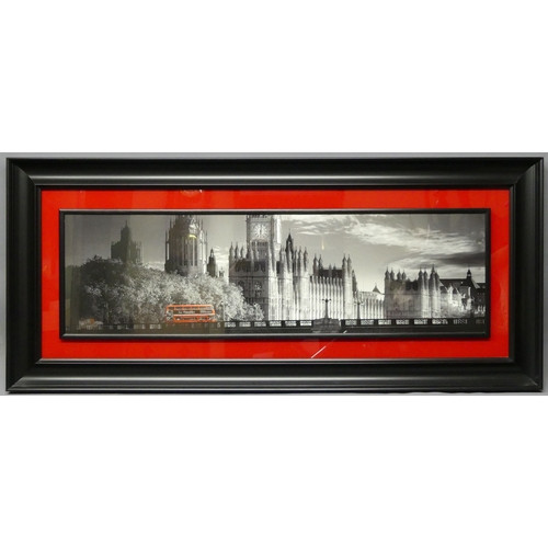 292 - Large red and black framed print of London 1of 2 'London Bus' Art Rouge. 154 x 68 cm.
