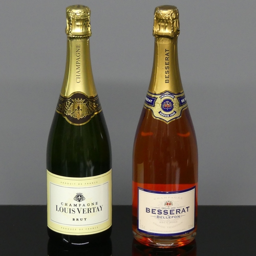 305 - A bottle of Besserat Rose Champagne and a bottle of Louis Vertay Champagne. UK Postage £20.