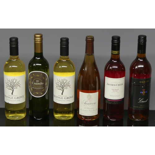 312 - Six bottles of assorted wine including white Chardonnay's and Sancerre rose.