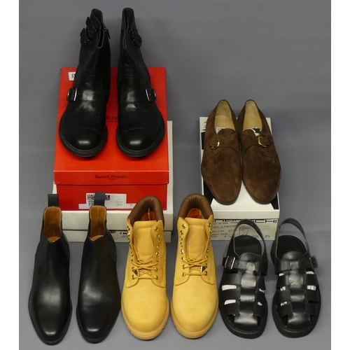 320 - Three pairs of new Russell and Bromley men's boots and two pairs of shoes (only three boxed). Size 7...