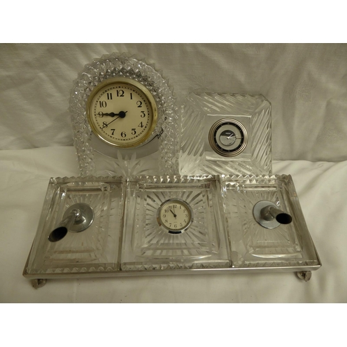 11 - Waterford cut glass pen stand, Marquis clock and USA cut glass clock stand 27cm wide