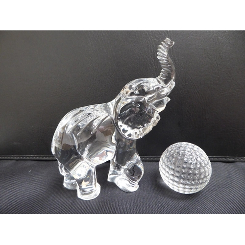12 - Waterford crystal elephant and golf ball - tallest 17 cm, signed