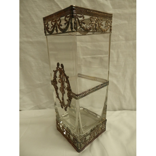 2 - A tall square clear glass vase with silver metal mounts of swags, dancer and cornucopia in the Art N...