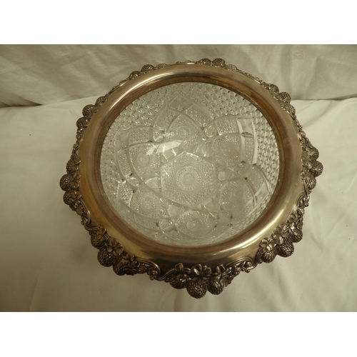 22 - Tiffany & Co sterling silver and finely cut glass fruit bowl with decoration of chased four leaf clo...