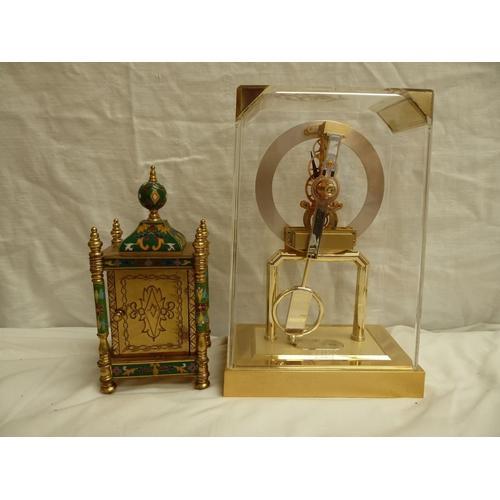 26 - Two clocks - 1) Skeleton under clear acrylic, 2) Cloisonné quartz - tallest 26cm