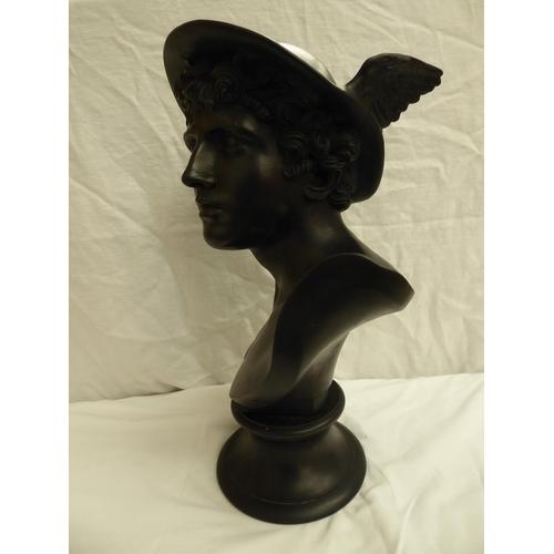 3 - Wedgwood black basalt ware head and shoulders bust of Mercury on a soclé. Impressed mark, ht. 45cm
